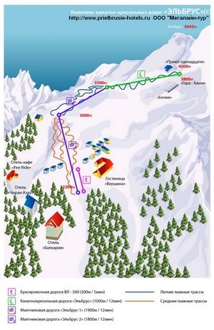 Схема трасс Эльбруса